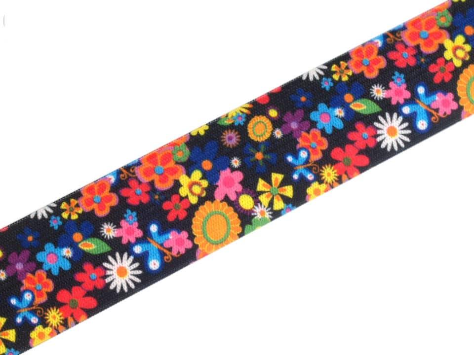 27mm kumm, värvilised lilled tumedal