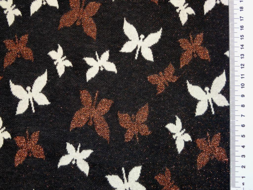 Žakaarkoeline, sädelevate liblikatega, must/pronks