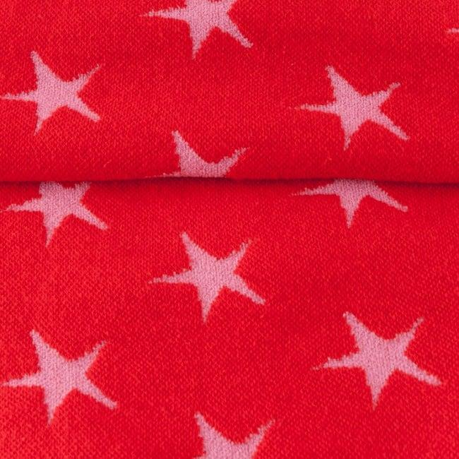 Žakaarkoeline tähekangas (soonik), punane/fuksiaroosa
