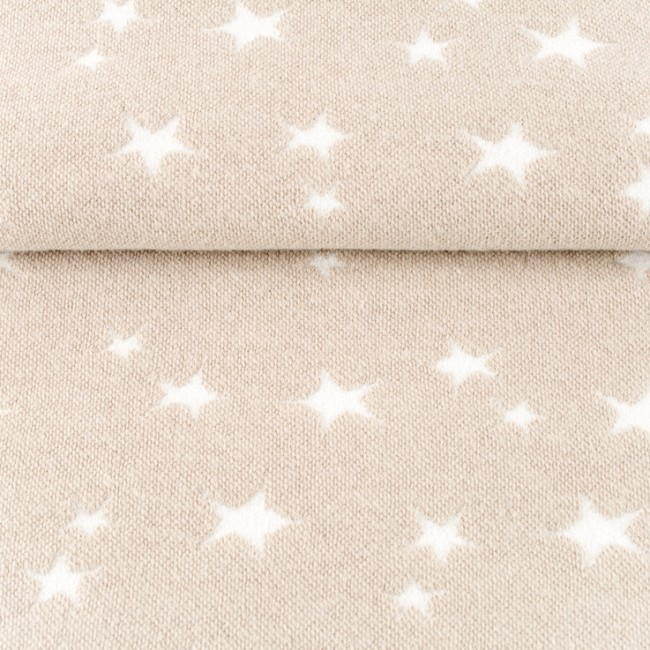 Žakaarkoeline tähekangas (soonik), beež/valge