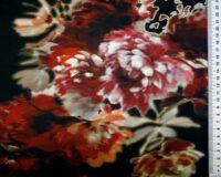 Veinipunased/ lillakad lilled mustal, Single Jersey