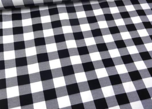 Ruuduline Single Jersey, must/valge 0,81m/tk