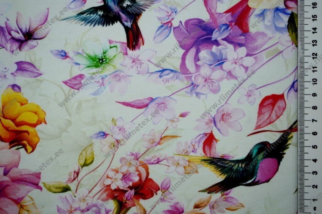 """Dressikangas (""""aasaline"""")/ French Terry linnud ja magnooliaõied"""