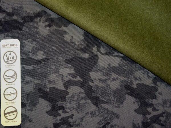 Armeemustriline softshell - materjal jopede ja õuepükste õmblemiseks