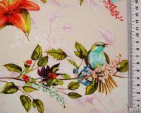Linnud ja oksad roosal põhjal, Single Jersey