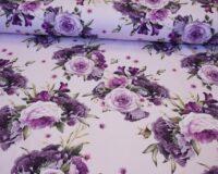 Õhuke dressikangas (French Terry) lillakad/roosakad roosid