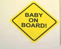 """Baby on Board"" kupong/paneel ca 53X73cm, Single Jersey"