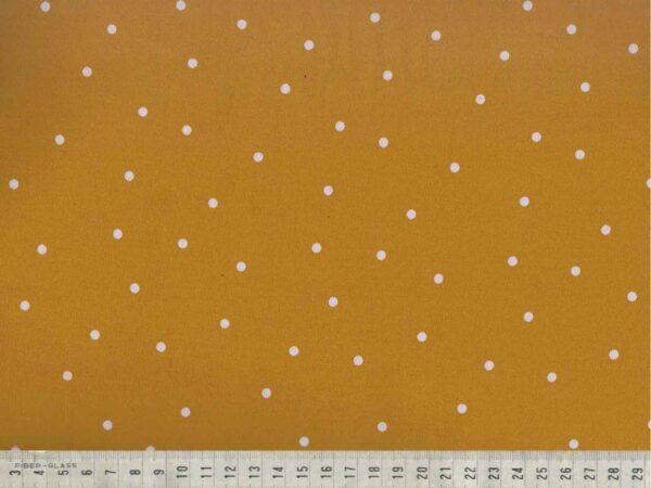 Viskoostrikotaaž valged täpid sinepikollasel