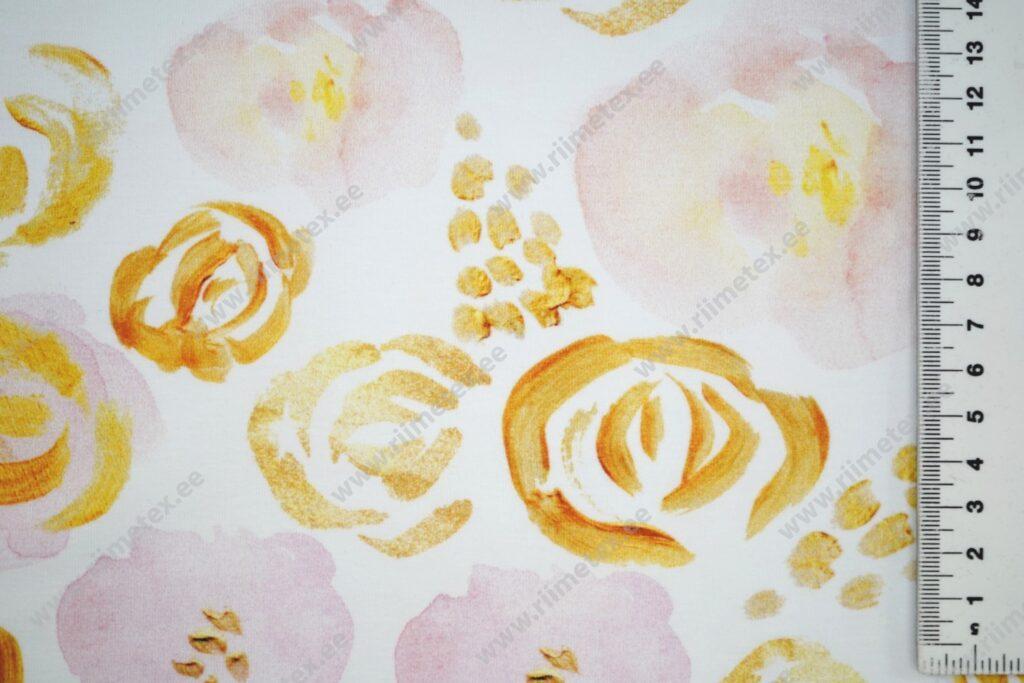 """""""Kuldsed"""" ja roosad roosid valgel, Single Jersey"""