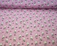 Väike mõmmik jalgrattal, roosa puuvillatrikotaaž /Cotton Single Jersey/