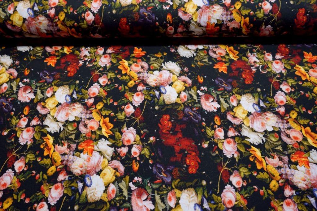 Värvilised lilled mustal, õhemapoolne French Terry