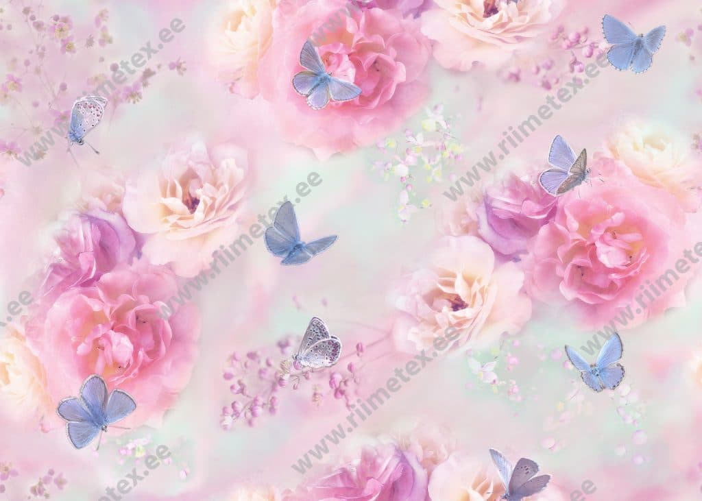 Pastelsed lilled ja helesinised liblikad, French Terry