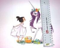 Tüdruk ja ükssarv, French Terry, paneel ca 40X50cm