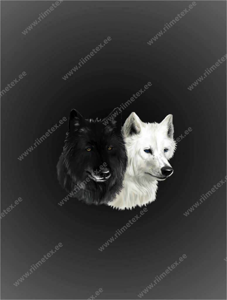 Must ja valge koer, French Terry, paneel ca 53X70cm