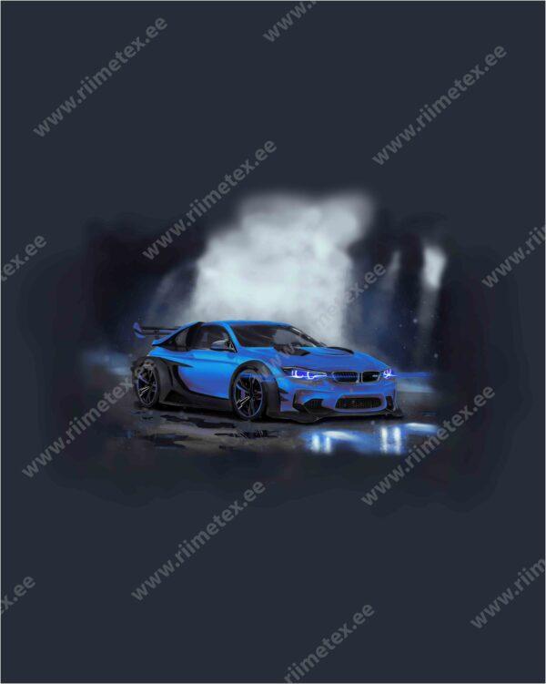 Sinine auto, French Terry, paneel ca 40X50cm