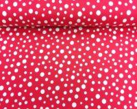 Punane valgete täppidega õhuke trikotaaž/Single Jersey
