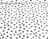 Trikotaažkangas valge mustade täppidega /Single Jersey