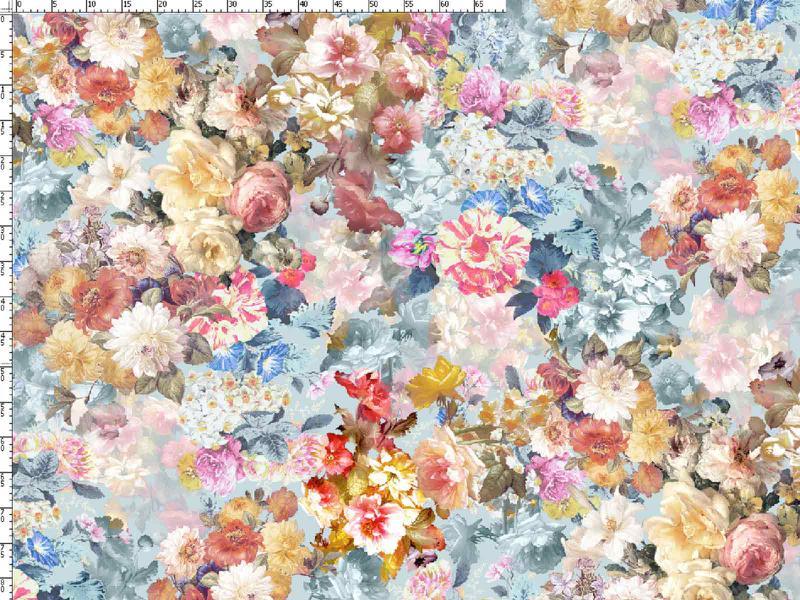 Romantilised lilled helesinisel French Terry