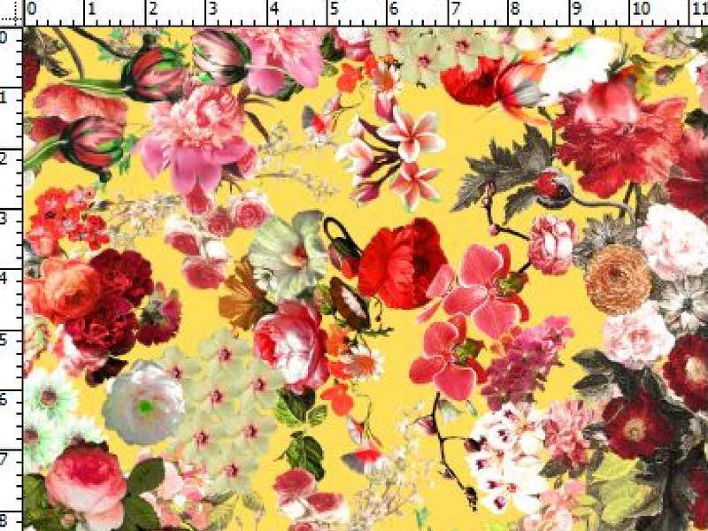 Väikesed lilled kollasel taustal, Single Jersey