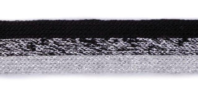 Dekoratiivpael (kootud) must-hall-hõbe (küljetriibuks, kapuutsipaelaks)