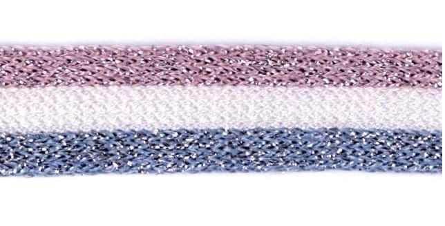 Dekoratiivpael (kootud) sinine-roosakas-hõbe (küljetriibuks, kapuutsipaelaks)