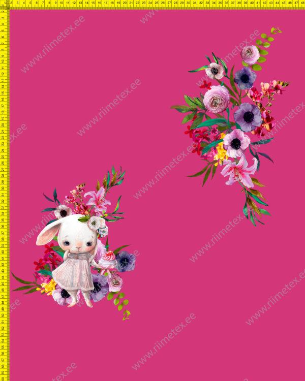 Õhuke veekindel jopekangas (soft-mesh), PANEEL, jänku lilledega