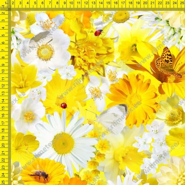 Kollaste lillede ja liblikatega dressikangas
