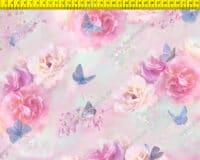 Õhuke veekindel jopekangas liblikad ja roosid, (Softshell-mesh)
