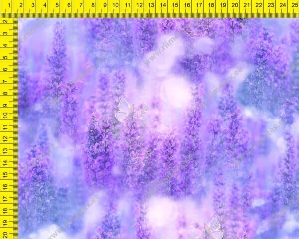 Õhuke veekindel jopekangas lavendlid ja väikesed liblikad