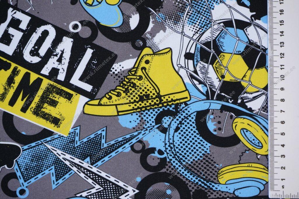 Õhuke dressikangas/ French Terry, jalgpalliteema sinine/kollane