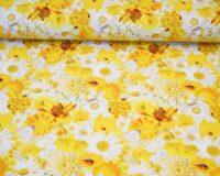 Trikotaažkangas kollased ja valged lilled /Single Jersey/