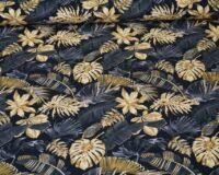 Bambusviskoosist trikotaaž, kuldsed lehed mustal, Single Jersey