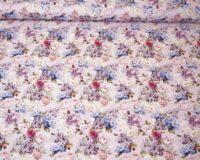 Väikesed roosid, pojengid ja hortensiad heleroosal, õhem trikotaaž /Single Jersey/