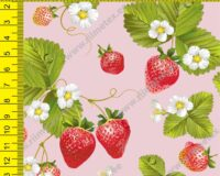 Maasikad roosal, õhem trikotaaž /Single Jersey/