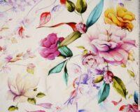 Värvilised lilled kollakal taustal, õhem trikotaaž /Single Jersey/