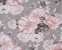 Õhuke dressikangas (French Terry), roosad roosid hallikal