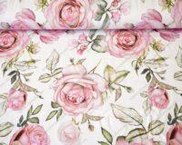 Roosad roosiõied valgel, French Terry, kergelt seest uhutud