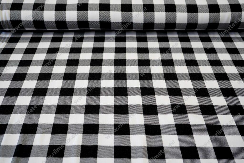 Dressikangas ruuduline must-valge