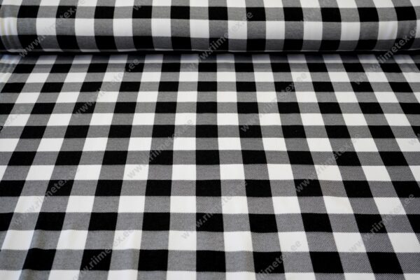 Dressikangas ruuduline must/valge