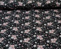 Roosad väikesed roosiõied mustal, French Terry, kergelt seest uhutud