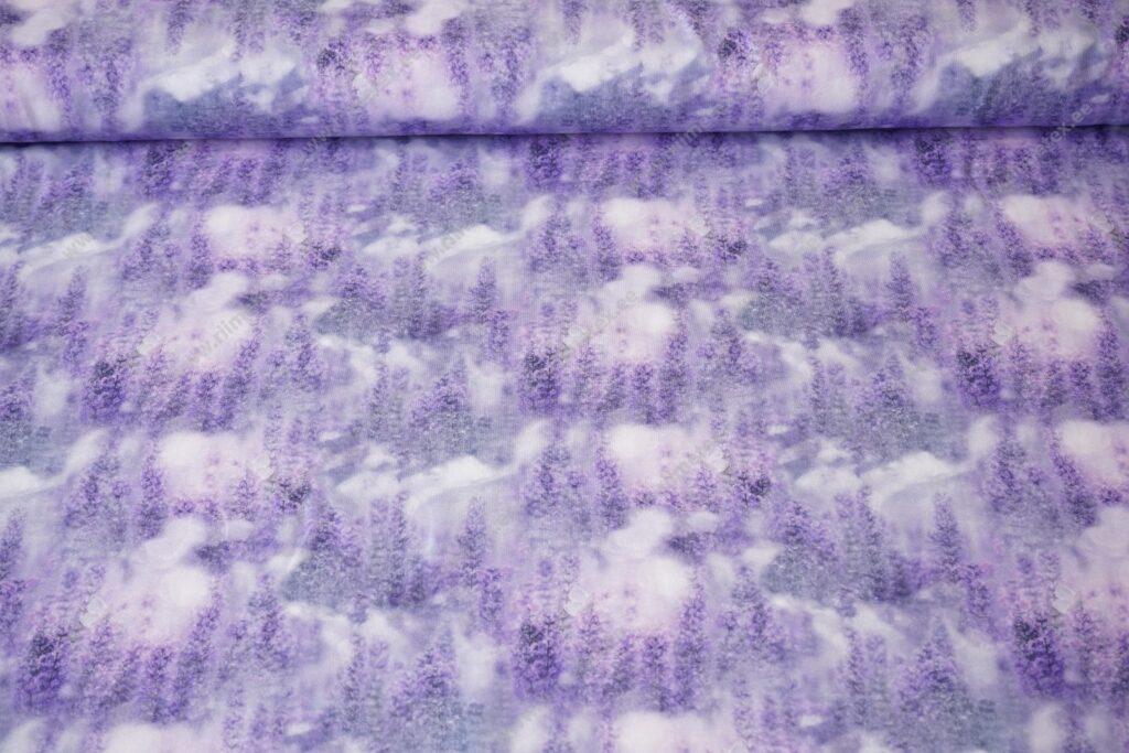Õhuke dressikangas/ French Terry, lavendel hallika taustaga