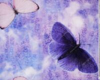 Õhuke dressikangas/ French Terry, lavendel liblikatega