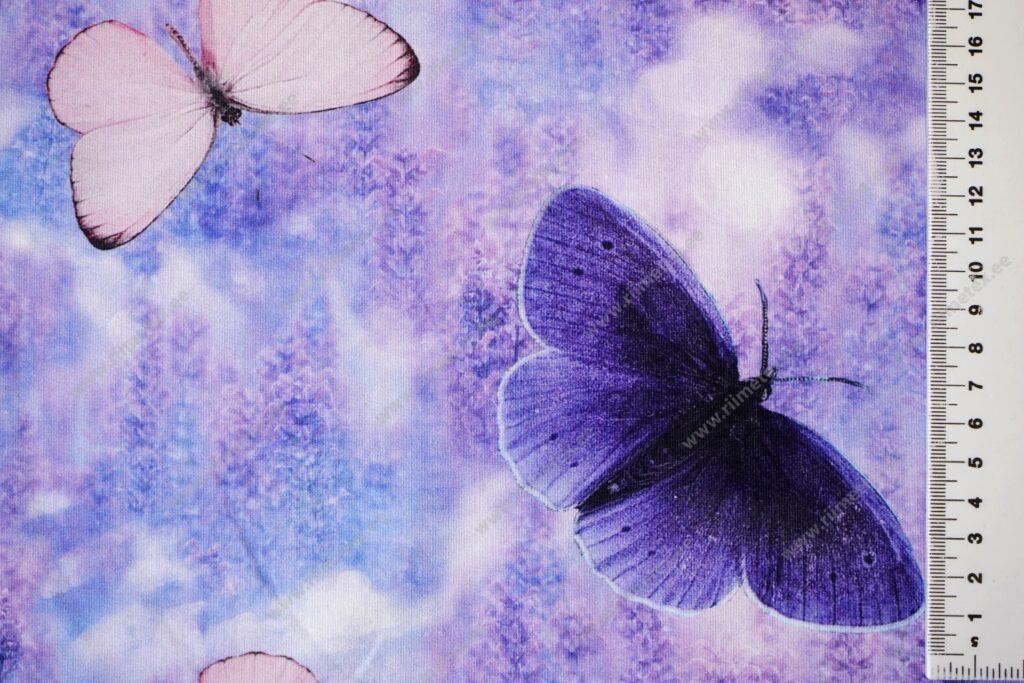 Lavendel liblikatega, õhem trikotaaž /Single Jersey/