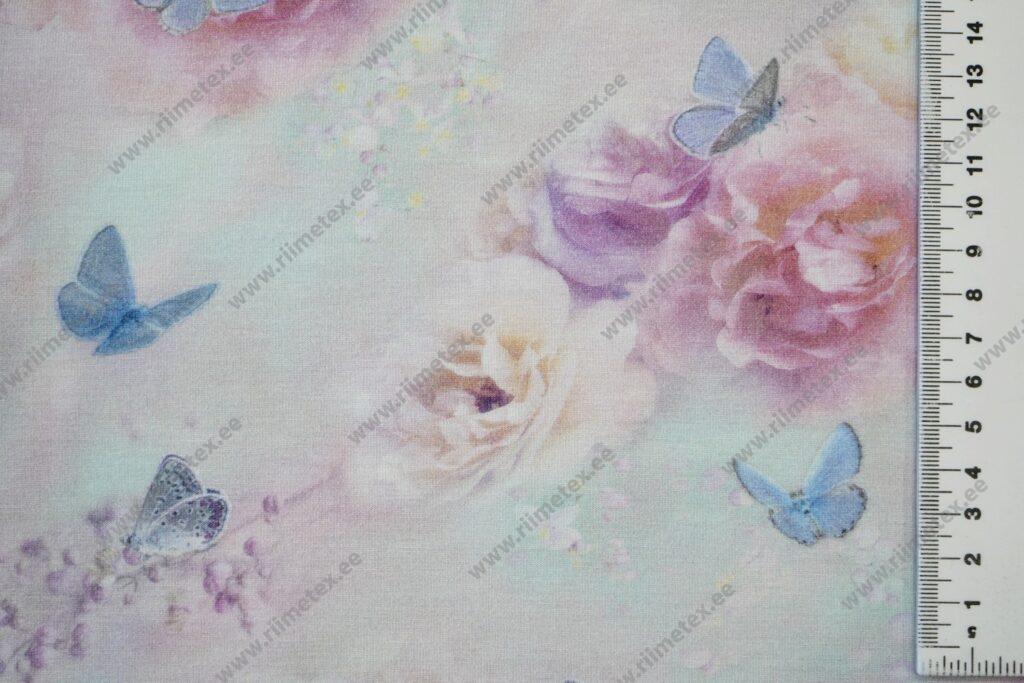 Bambusviskoosist trikotaaž, roosid ja liblikad heledal mündil, Single Jersey