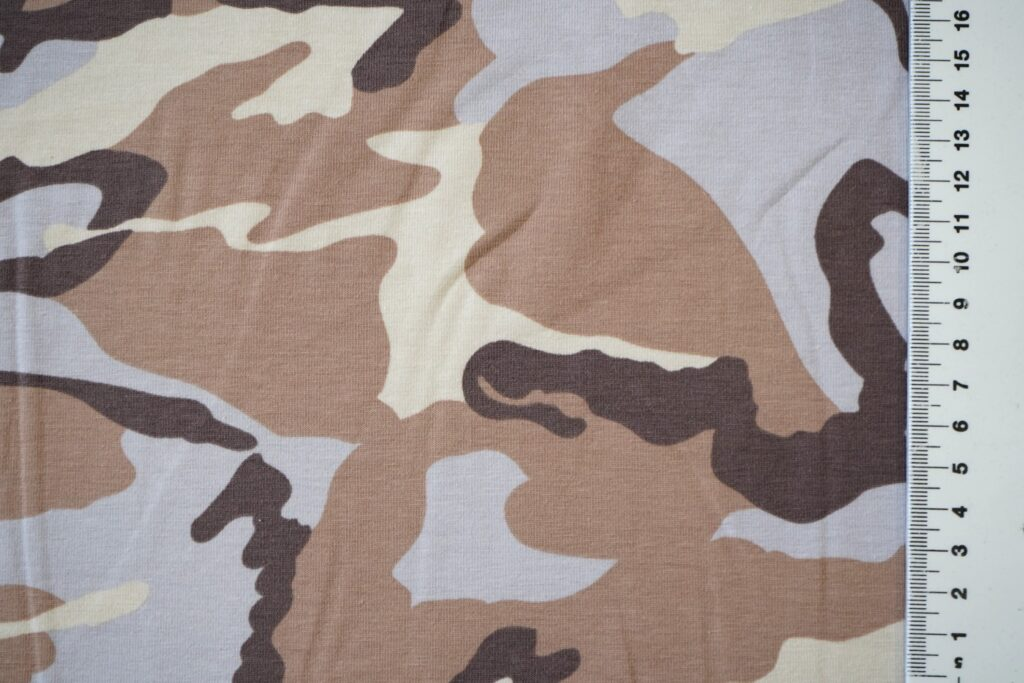 Armeemuster helepruun, õhuke trikotaaž (Single Jersey)