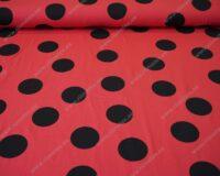 Punane mustade mummudega Single Jersey