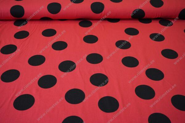 Punane mustade mummudega kangas
