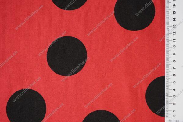 Dressikangas punane mustade mummudega /French Terry