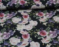 Bambusviskoosist trikotaaž, roosid ja kellukesed mustal, Single Jersey