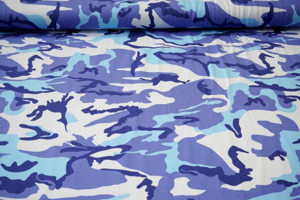 Armeemuster sinine, õhuke trikotaaž (Single Jersey)
